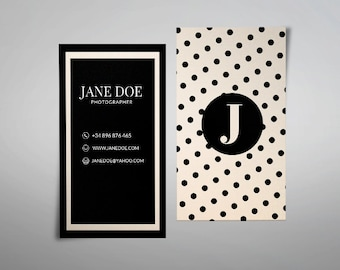 Modern business card template, printable business card design custom business card polka dot business card blush pink pattern dots dotted