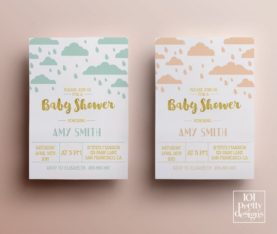 Clouds And Rain Baby Shower Invitation Template Printable Baby - Pink and gold baby shower invitations template