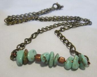"Magnesite Necklace 18"" Antique Copper Curb Chain Necklace Handmade Necklace"