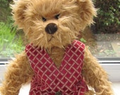 Teddy Bear Clothes, Handmade Maroon & Gold  Brocade Material Lined Waistcoat/Vest To Fit A 14 Inch Bear, Ready To Ship/Post
