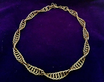 Golden Spiral Chainmaille Necklace - Brass - Chainmail Jewelry