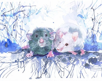 Mouse art, pet rat painting, rodent, watercolor print, mouse rat, nursery art, pet portrait,  animal lover, mice, art work, gift for kids