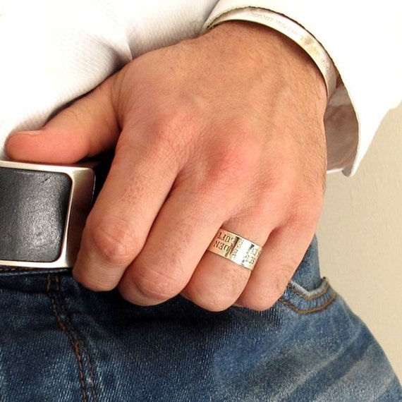 Personalized Sterling Silver Ring For Men Custom Engraved