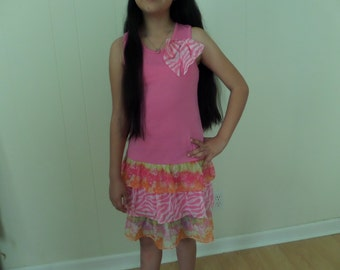 Pink tank dress for girls   size 10-12