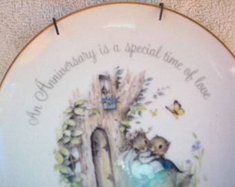Vintage anniversary gift porcelain plate with two squirrels, Lasting Memories