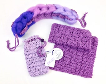 Spa Gift Set Crochet Cotton Bath Set Lavender Soap Saver Purple Washcloth Grape Back Scrubber Shower Soap Bag Facecloth Loofah Gifts for Her
