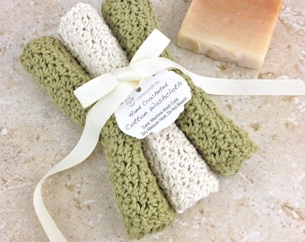 Sage Cream Washcloths Set of 3 Cotton Wash Cloths Crocheted Facecloths Light Sage Green Ivory Ecru Dishcloths Handmade Washcloth Gift Set