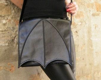 Black Faux leather bat wing bag, Black leatherette bat wing bag, crossbody bag, messenger bag, vegan bag, bat bag, goth bat  bag