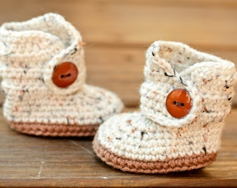 Crochet Baby Booties - Baby Moccasins Boots - Earthy Brown and Natural Tweed Baby Shoes - Indian Moccasin Inspired - Eskimo Boots