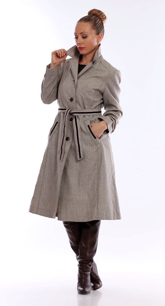 Items similar to 80s Preppy Grey Trench Coat/Classy Midi ...