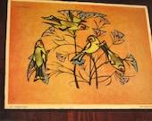 Vintage Yellow Goldfinches Bird Print-Decoupaged Wood Plaque Bird Wall Art-Yellow Orange Bird Wall Decor Art by Jean Young-Rustic Farmhouse