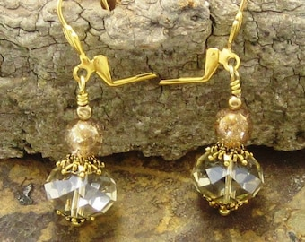 crystal drop earrings - Clear crystal earrings, Faceted, Gold , Drop Beaded Earrings