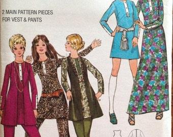 Butterick 5866 - 1970s Mini or Maxi Dress, Vest, and Pants - Size 12