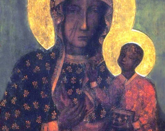 Our Lady of Czestochowa Black Maddona Virgin Mary Black icon Catholic Print Picture Poster