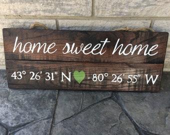 Home sweet home- longitude latitude wood sign- gift for anniversary, wedding, reclaimed wood wall art, home decor, new hous