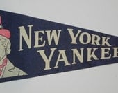 Beautiful 1950's New York Yankees pennant with Uncle Same motif