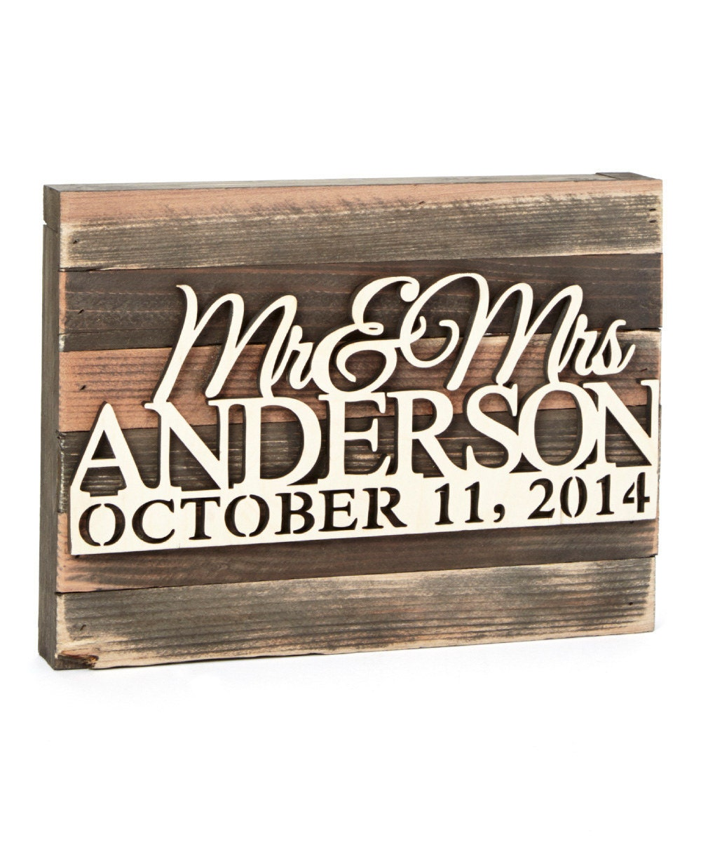 Mr mrs wedding monogram sign mounted on distressed wood for Monogram homes