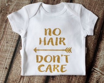 Baby Girl Onesie, Baby Girl Clothes, No Hair Don't Care, Baby Shower Gift, Glitter Shirt, Baby Girl Shirt, Glitter Shirt, Trendy
