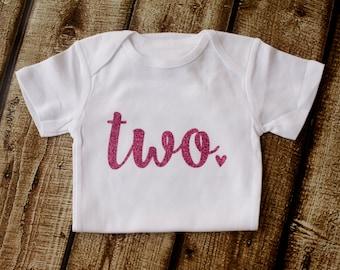 Second Birthday Shirt, 2nd Birthday Shirt, Hot Pink Glitter, Two Shirt, Girls Glitter shirt, Girls Shirt, Second Birthday Outfit, Princess