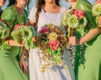 beach wedding bridal bouquet set