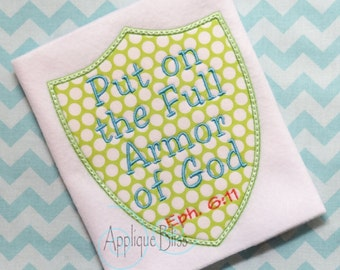 Armor of God Applique Design - Bible - Christian - Religious - Monogram - Machine Embroidery