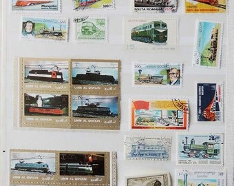 27 TRAINS Vintage International Postage Stamps - Scrapbooking - Card Making - Collecting