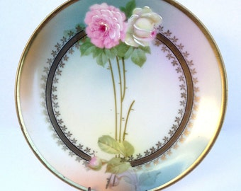 Antique Porcelain Rosebud Plate