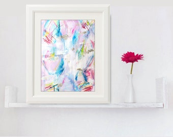 Abstract Painting, Abstract Art Watercolor on Paper, Small Original Painting Sivler Pink Painting, Geometric Painting