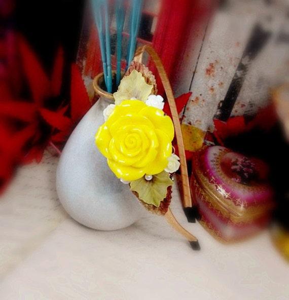 Mustard Yellow Headband Big Rose Headband Resin Flower - photo#50