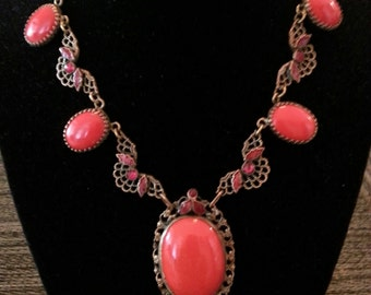 Czech Necklace With Red Crystals