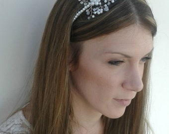 Stunning bridal side headband with Swarovski crystals and pearls handmade in the UK. tiara alternative wedding bride bridesmaids