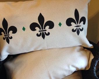 Fleur De Lis Pillow/Nola Flare/Love New Orleans/Hand Painted Pillow/Shower Gift