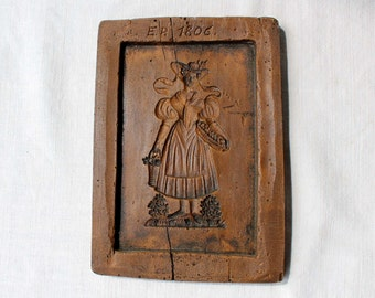 Large Vintage Cookie or Biscuit  Mold / Mould / Press / Form made of casting resin; with a Girl in a Folk Costume