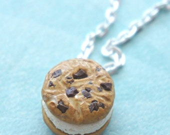 SCENTED chocolate chip cookie ice cream sandwich necklace- miniature food jewelry, cookie necklace, scented jewelry