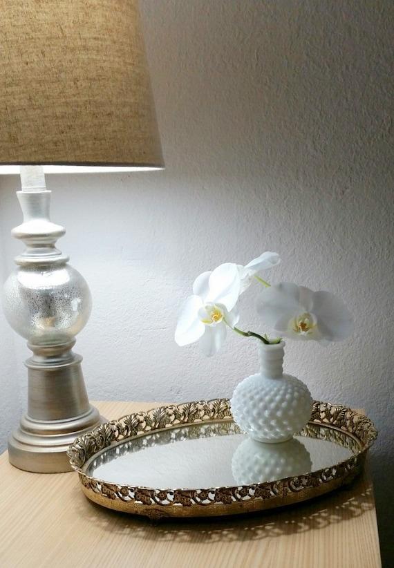 Gold filigree mirror tray oval home decor perfume