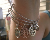 Adjustable Zen Bangle Charm Bracelet Set