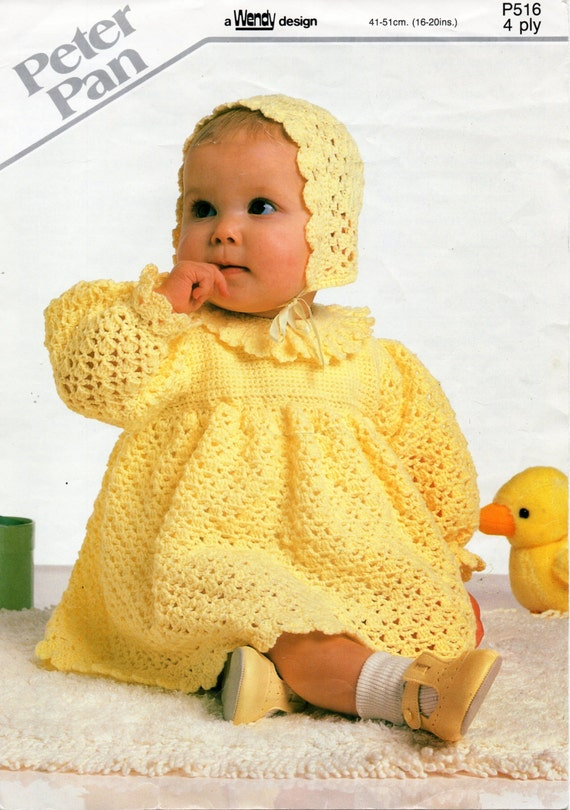 Crochet Baby Dress And Bonnet Pattern : baby CROCHET PATTERN baby girls crochet dress bonnet 4 ply