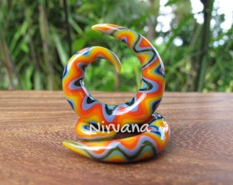 "Rainbow Snake Spirals Glass 10g 8g 6g 4g 2g 0g 00g 7/16"" 1/2"" 9/16"" 5/8"" 2.5 mm 3 mm 4 mm 5 mm 6 mm 8 mm 10 mm 12 mm 14 - 16 mm"