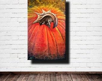 Autumn Sun - Pumpkin!  Oil painting on canvas on a stretcher.