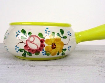 Vintage soup bowl with handle, small crock, hand painted in Portugal, Soup mug