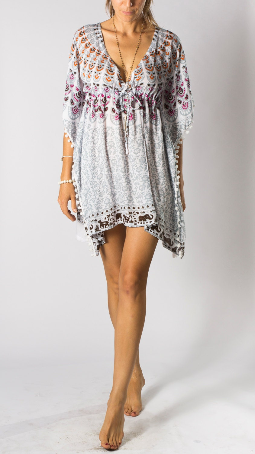 Pom Tunic Dress in Grey White Pink Peacock Womens tunic