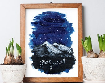 Free Yourself Watercolor Poster