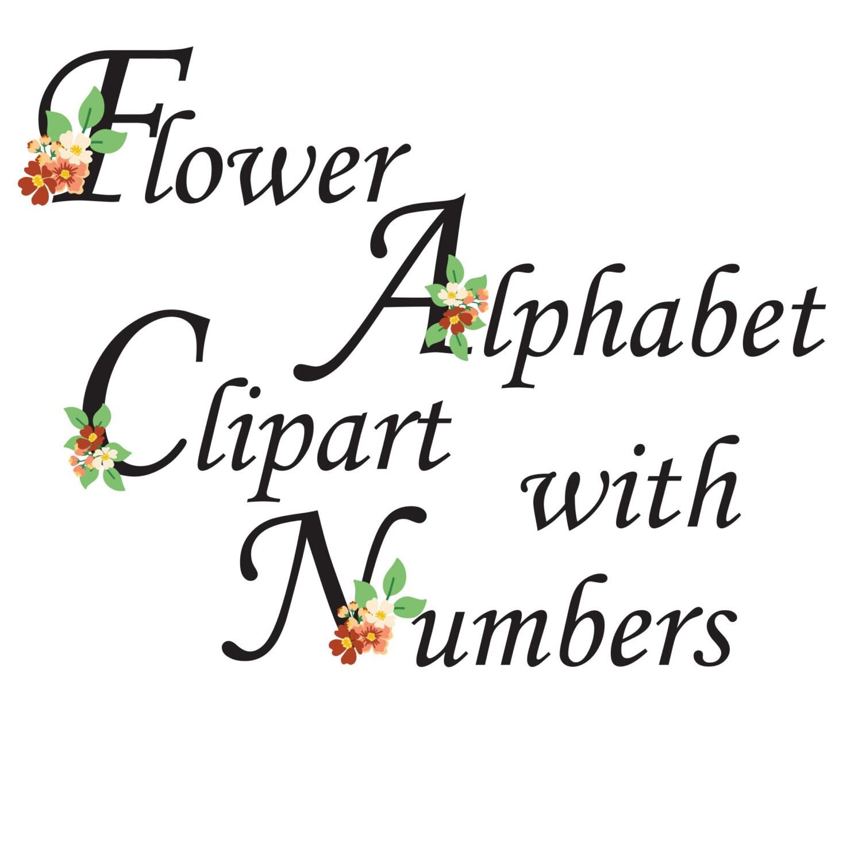 flower alphabet clipart  floral letters  flower monogram  flower alphabet with nimberts  floral