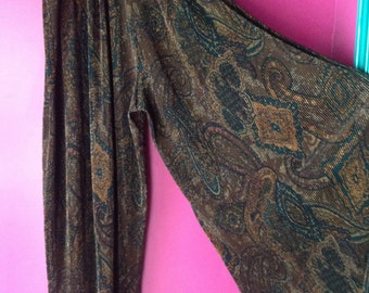 Wide Legged Vintage Paisley Print Medium 90's Pant by Express Clothing