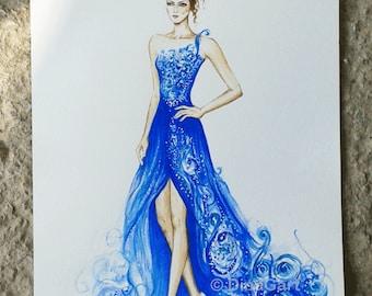 Original Fashion Illustration 'Blue Magic', Watercolor Fashion Illustration, Fashion drawing (6 x 8 inch)