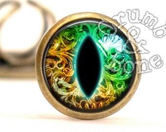 Gold Glass Eye Ring, Steampunk Jewelry, Green Eyeball Blue Taxidermy Glass Eye, Third Eye, Dark Blue Eye, Steam Punk Ring, Glass Eye Jewelry