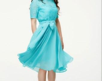 Bridesmaid Blue Dress, Lace Chiffon Dress, Belt, Bowknot, Cute Romantic Dress.