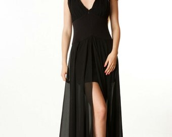 Black Evening Dress Chiffon Long Dress Short Underskirt.