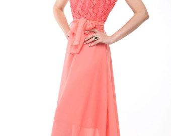 Bridesmaid Dress Lace Chiffon Long Dress Wedding coral.