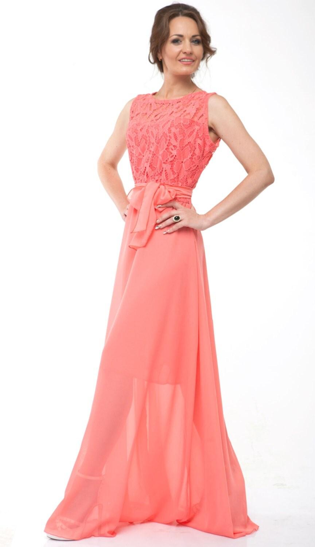 Coral Bridesmaid Dress Chiffon Coral Evening Dress by Dioriss